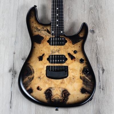 Ernie Ball Music Man Jason Richardson Cutlass Guitar, Buckeye Burl, Black Burst for sale