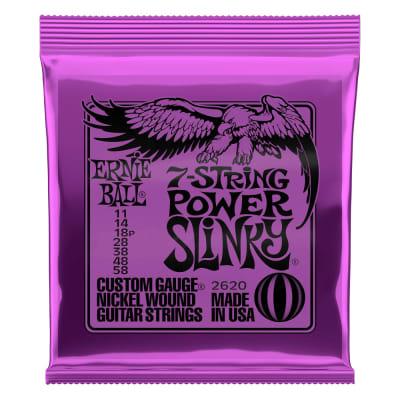 Ernie Ball 2620 Power Slinky 7-String Nickel Wound Electric Guitar Strings - 11-58 Gauge