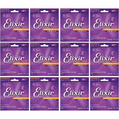 12 Sets of Elixir 11102 Nanoweb 80/20 Bronze Custom Medium Acoustic Guitar Strings (13-56)