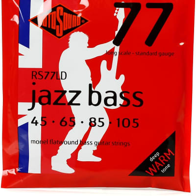 Rotosound RS77LD Jazz Bass 77 Long Scale Standard Flatwound Bass Strings 45-105