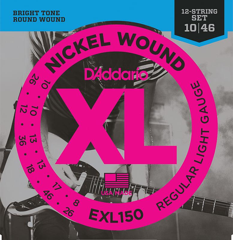 D'Addario EXL150 Nickel Wound Electric Guitar Strings, 12-String, Regular Light