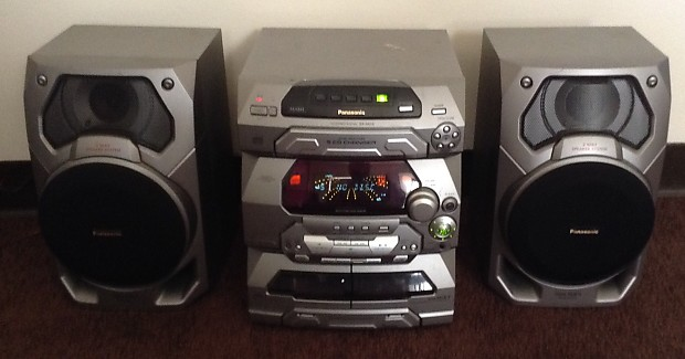 PANASONIC SA AK16 Silver Shelf System 5 Disc Changer Dual Cassette Deck Aux Input Working Please Rea