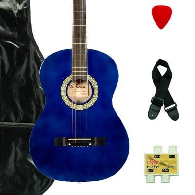 De Rosa DK3810R-BLS Kids Acoustic Guitar Outfit Blue w/Gig Bag, Pick, Strings, Pitch Pipe & Strap for sale