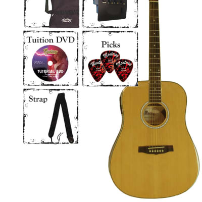 Monterey MATE-25 Acoustic/Electric Guitar Pack - Natural - RRP: $219.95 - 45% OFF! for sale