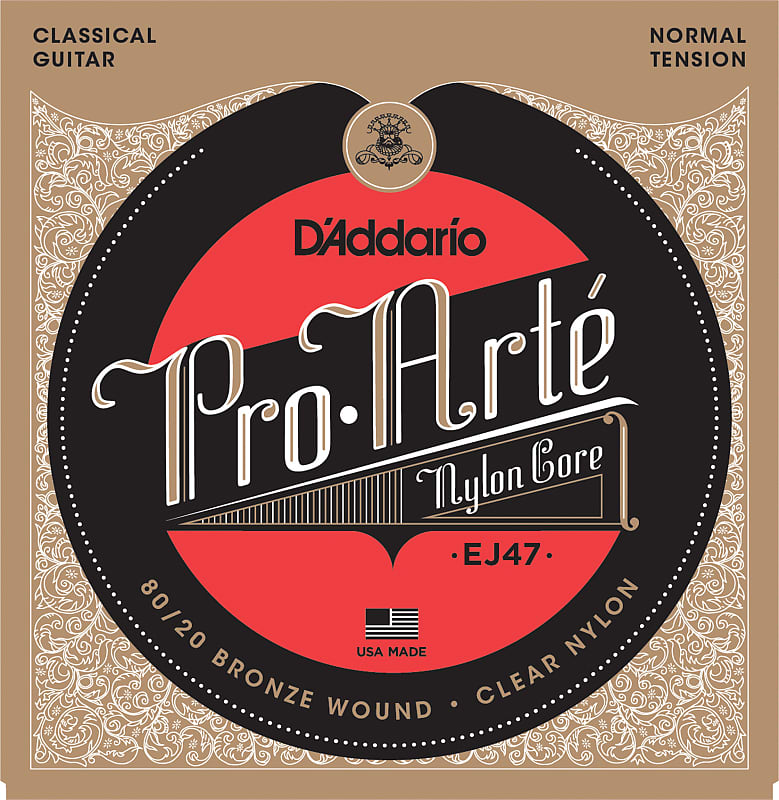 D'Addario EJ47 80/20 Bronze Pro-Arte Nylon Classical Guitar Strings, Normal Ten