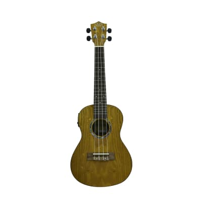 J&D Guitars Concert Electric Ukulele with Tuner & EQ - Quilted Ash Top & Body, Pearl Rosette for sale