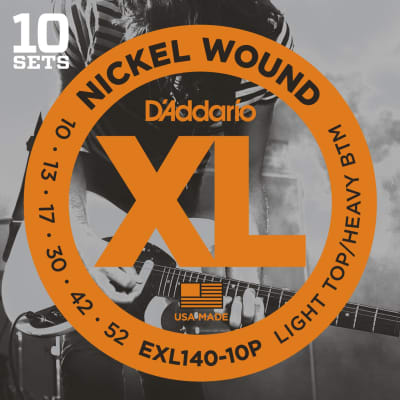 D'Addario EXL140-10P 10 Pack Light Top Heavy Bottom Nickel Wound Electric Guitar Strings - 10-52