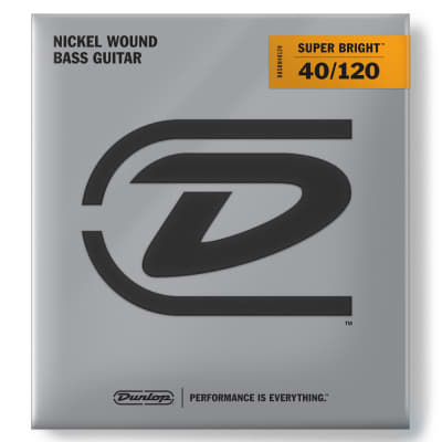 Dunlop DBSBN40120 Super Bright Nickel-Plated Steel Light .40-.120 Electric Bass Strings (5 Set)