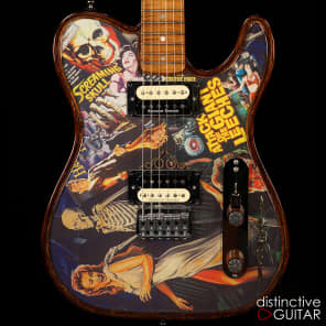 Walla Walla Maverick Pro Crystal Screaming Skulls - Chambered Body Tele for sale
