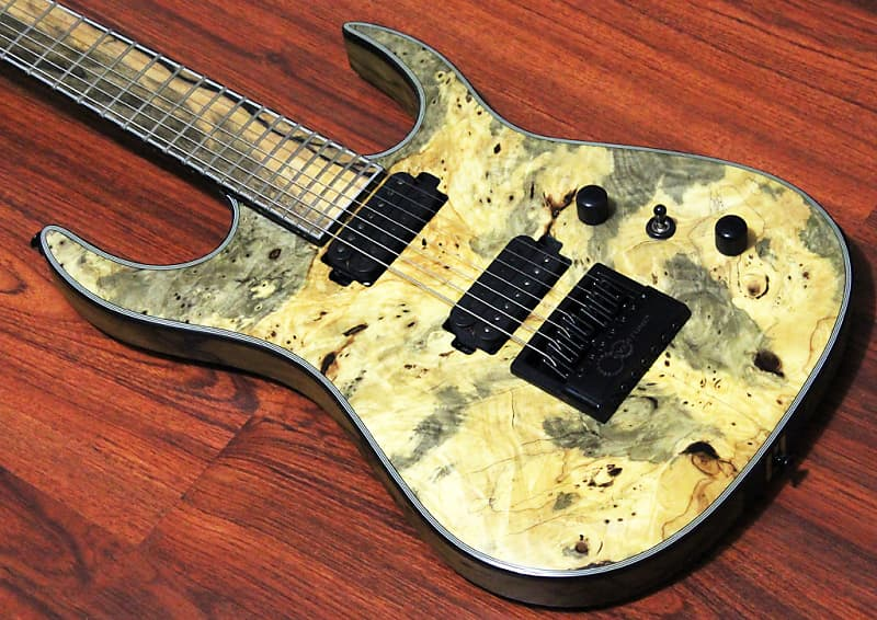 Halo Custom Guitars Merus 7 String Seymour Duncan Sentient Nazgul Evertune  Bridge Cali Buckeye Burl