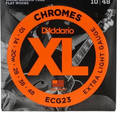 D'Addario ECG23 Chrome Flatwound Electric Guitar Strings 10-48
