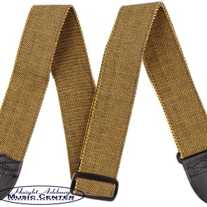"Fender 2.5 Inch Cotton Guitar Strap, Vintage-Style Design ""F"" Tweed, Gold/Black, 099-0686-004 for sale"