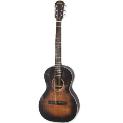 Aria Vintage Delta Blues Parlor Acoustic Guitar - Muddy Brown for sale