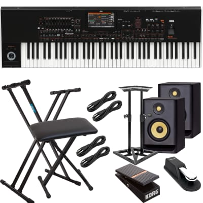 Korg Pa4X-76 76-key Professional Arranger, (2) KRK RP5G4 Monitors, Monitor Stands, Keyboard Stand, Bench, Korg EXP2 Pedal, Sustain Pedal, (4) 1/4 Cables Bundle