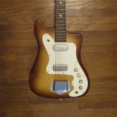 Vintage 1960s Kay Montclair K102 Vanguard/Bobcat 2 Pickup Brownburst Original Case Very Clean!!! for sale