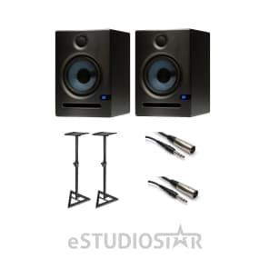 PreSonus Eris E5 2-Way 5.25' Nearfield Studio Monitor Pair Stands & Cables