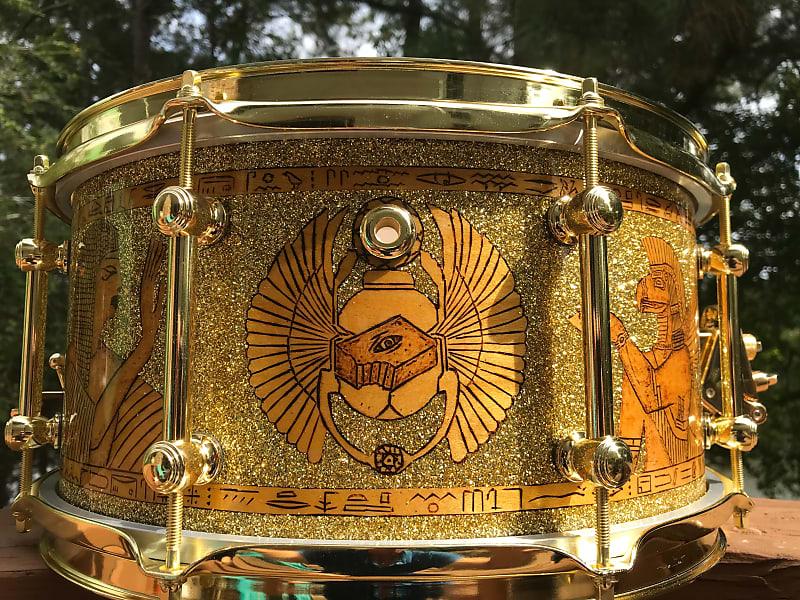 14x7 Egyptian Motif Custom Snare - Light Gold Metal Flake