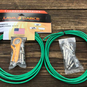 LAVA CABLE TIGHTROPE Solder-Free XL Pedalboard Kit 20ft Cable 20 RA VERSION 2 (V2) Plugs - GREEN