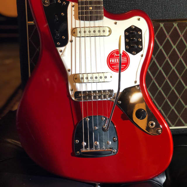 Squier Vintage Modified Jaguar Electric Guitar Candy Apple Red Rosewood Fingerboard image