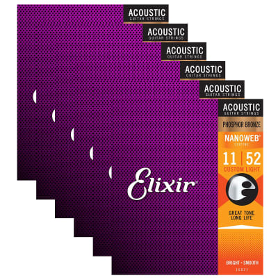Elixir Phosphor Bronze Nanoweb Custom Light 16027 11-52 Acoustic Guitar Strings 6-Pack w/Bonus Elixi