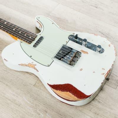 Fender Custom Shop 1963 Heavy Relic Telecaster Guitar, Olympic White Red Sparkle
