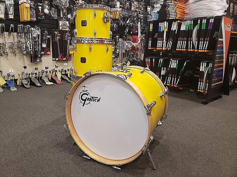 Gretsch 80's USA Custom Jasper Shell 4-Piece Drum Kit Set 1980s in Tony Williams Yellow Nitron
