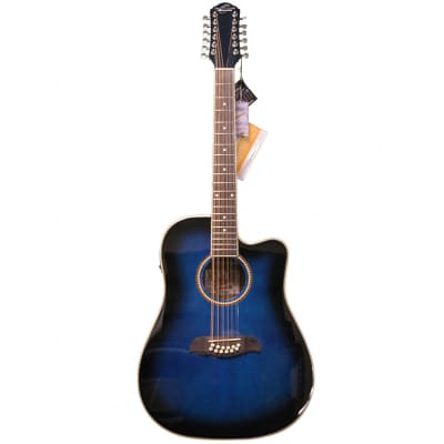 Oscar Schmidt OD312CETBL 12-String with Electronics Trans Blue