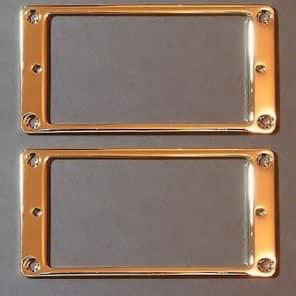 Guitar Parts Humbucker Pickup Flat Bezel METAL MOUNTING RING - SET of 2 - GOLD