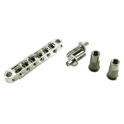 TonePros® Metric Tune-O-Matic Bridge With Large Posts And Roller Saddles fits Epiphone TPFR-C Chrome