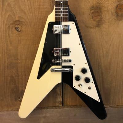 D'Agostino Flying V Vintage MIJ Electric Guitar Black & White c. 1980 Japan for sale