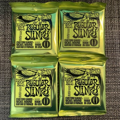 4 Sets of Ernie Ball 2221 Regular Slinky Electric Guitar Strings .010 - .046 w/ Free String Winder