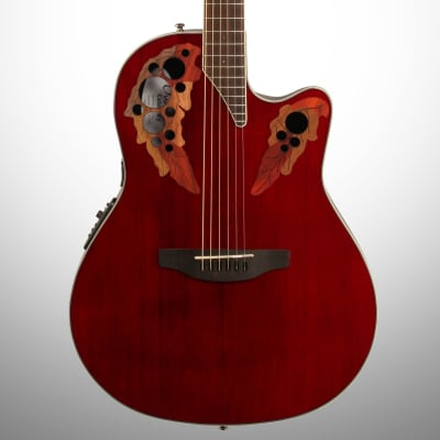 Ovation CE48 Celebrity Elite Super Shallow Acoustic-Electric Guitar, Ruby Red