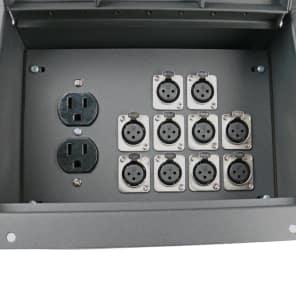 Elite Core Audio FBL10+AC Recessed Floor Box with 10 XLR Female Connectors, Duplex AC Power Outlet