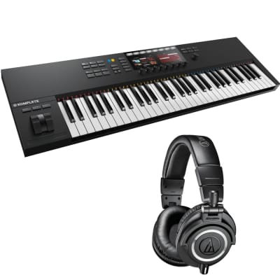 Native Instruments KOMPLETE KONTROL S61 MK2 61-Key Controller for KOMPLETE + Audio-Technica ATH-M50x Monitor Headphones (Black)