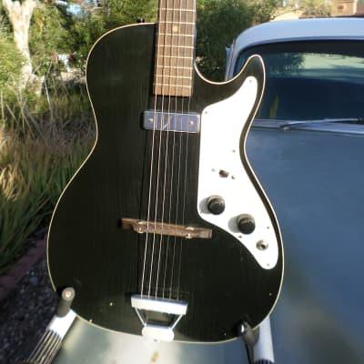 Alden H-45 Stratotone 1963  Tuxedo Black, (Kennedy Assassination Guitar) for sale