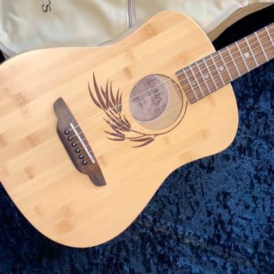 Luna SAF-BAMBOO Safari Bamboo 3/4 Scale Travel Guitar Natural with Design