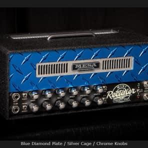 MESA/Boogie Mini Rectifier 25 Head - Custom Blue Diamond Plate - Blue Diamond Plate / Silver Cage / Chrome Knobs for sale