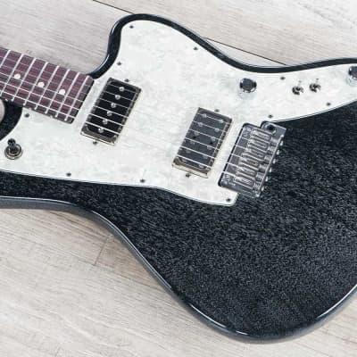 Tom Anderson Guitarworks Raven Superbird Guitar, Black w/ White Dog Hair for sale