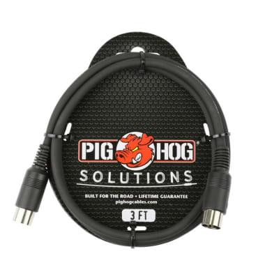Pig Hog 3ft MIDI Cable (PMID03), Black