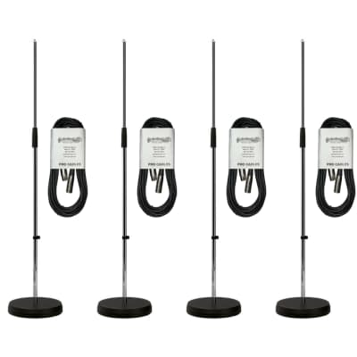 New Heavy Duty Round Base Microphone Stand - Chrome Finish - 4 PACK