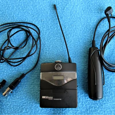 AKG PT450 Pocket Transmitter PT450-Band VIII-w Microphone and Remote Switch-Powers Up-UNTESTED