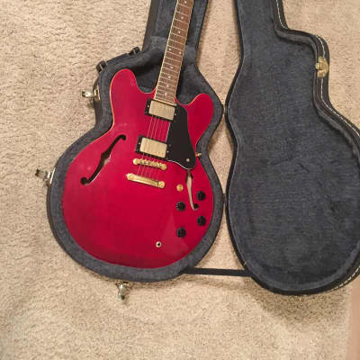 GTX Semi-hollow Copy of gibson es-335 electric Wine red with hard case mint condition for sale