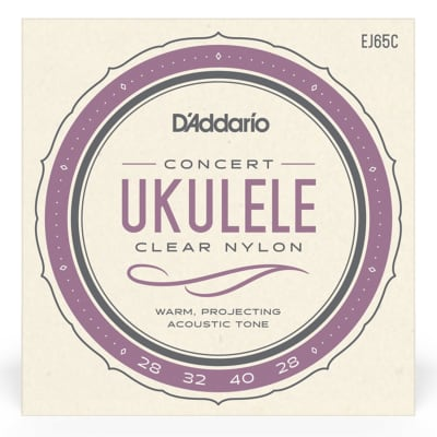 D'Addario EJ65C Clear Nylon Ukulele Strings, Concert
