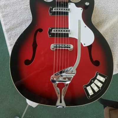 Rare Penncrest P 3 1968 Red Burst Thinline Semi Hollow Guitar for sale