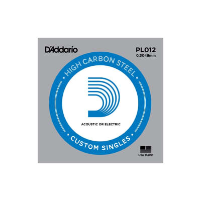 D'Addario Nickel Plain Electric/Acoustic Single String PL012