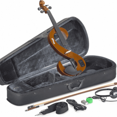 Stagg EVN-4/4-VBR Silent Violin Set w/ Case, Headphones Violin Burst