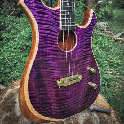 The Exomoon by Moon Guitars, Purple Flamed Maple Hybrid Electric/Acoustic