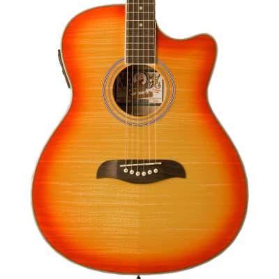 Oscar Schmidt OACEFCS Auditorium Acoustic Electric Guitar, Cherry Sunburst