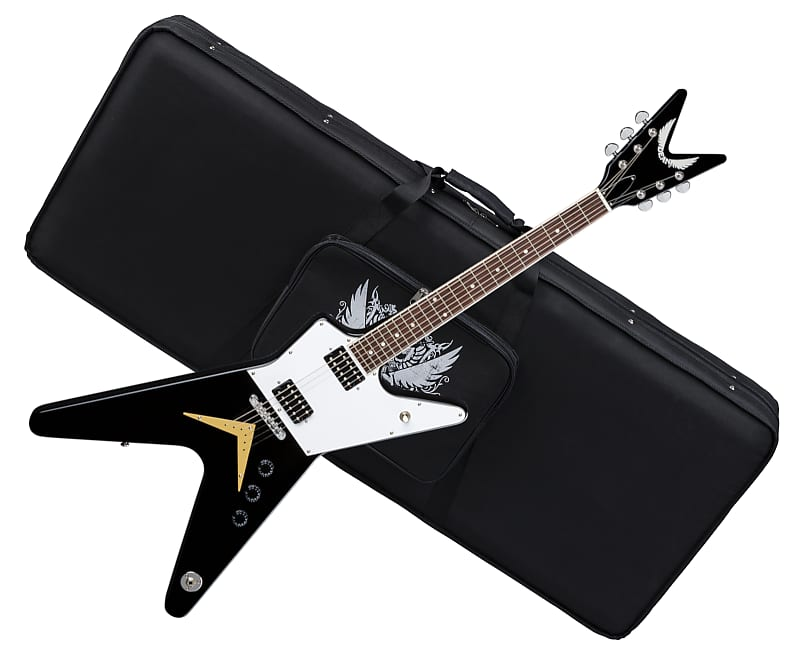 Dean Ml 79 Electric Guitar Classic Black W Full Pickguard Reverb