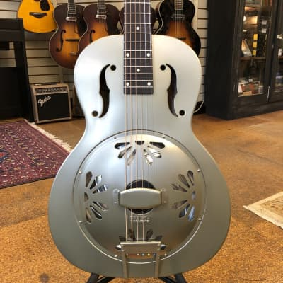 Gretsch G9201 Honey Dipper Round-Neck Brass Body Biscuit Cone Resonator Guitar Shed Roof Finish for sale